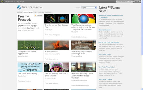 freshly pressed first page of wordpress web